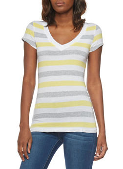 Multi Color Striped V Neck T Shirt - 1013054264002