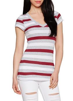 Multi Color Striped V Neck T Shirt - 1013054264002