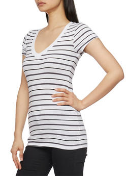 Striped Short Sleeve V Neck T Shirt - 1013054264003
