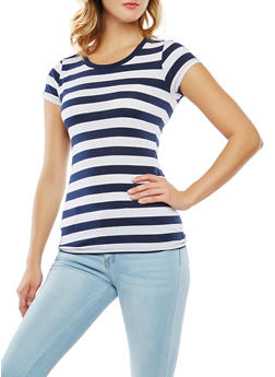 Striped Crew Neck Tee - 1013054264501