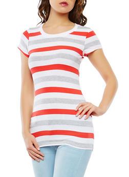 Striped Crew Neck Tee - 1013054264502