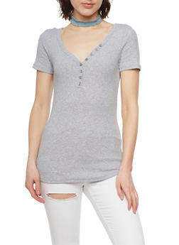 Short Sleeve Rib Knit V Neck T Shirt - 1013054268801