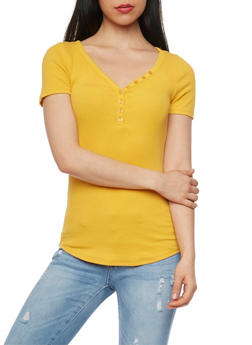 Short Sleeve Rib Knit V Neck T Shirt - MUSTARD - 1013054268801