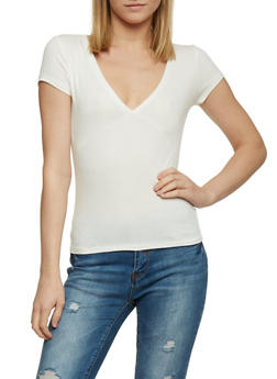 Short Sleeve Ribbed V Neck T Shirt - 1013054269231