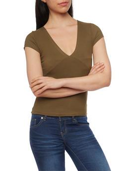 Short Sleeve Ribbed V Neck T Shirt - 1013054269231