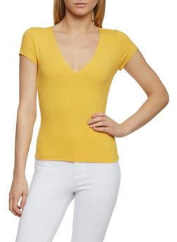 Short Sleeve Ribbed V Neck T Shirt - MUSTARD - 1013054269231