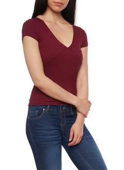 Short Sleeve Ribbed V Neck T Shirt - BURGUNDY - 1013054269231