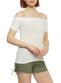 Rib Knit Off the Shoulder Short Sleeve Top - OFF WHITE - 1013054269234