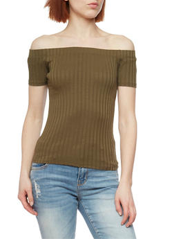 Rib Knit Off the Shoulder Short Sleeve Top - OLIVE - 1013054269234