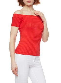 Rib Knit Off the Shoulder Short Sleeve Top - 1013054269234
