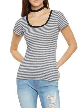 Striped Rib Knit Scoop Neck Ringer T Shirt - 1013054269274