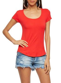 Basic Rib Knit Scoop Neck T Shirt - 1013054269447