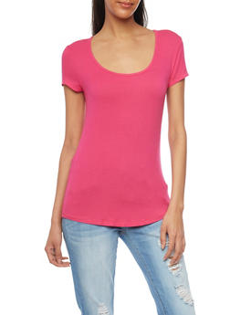 Basic Rib Knit Scoop Neck T Shirt - 1013054269447