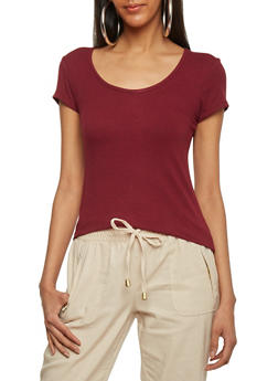 Basic Rib Knit Scoop Neck T Shirt - BURGUNDY - 1013054269447