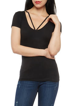 Black Basic Rib Knit Top - 1013054269473