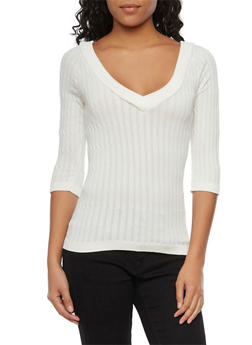 Cable Knit V Neck Sweater with Three Quarter Sleeves - 1016038341008