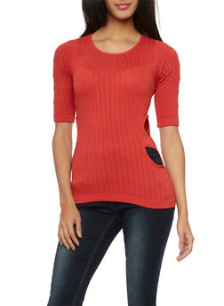 Cable Knit Stretch Top with Side Cutouts - 1016038341012