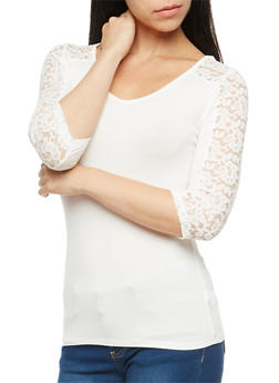 Three Quarter Sleeve Lace Trim Top - WHITE - 1016054265715