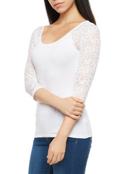 Lace Sleeve Basic Top - 1016054267791
