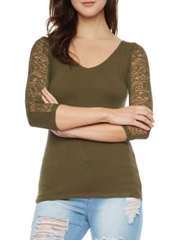Keyhole Back Top with Lace Paneling - OLIVE - 1016054268660