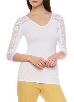 V Neck Lace Paneled Top - 1016054269094