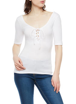 Solid Lace Up Top - 1016054269937