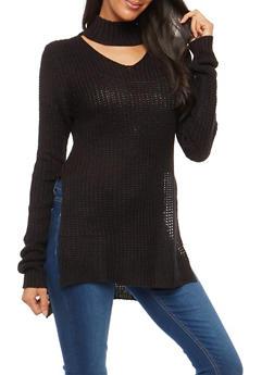 Choker Neck High Low Sweater - 1020015050034