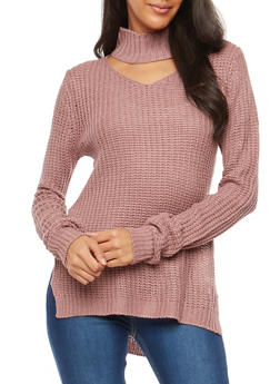 Choker Neck High Low Sweater - 1020015050034