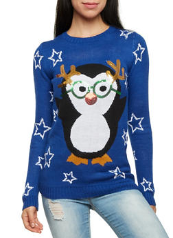 Long Sleeve Sweater with Holiday Penguin Graphic - 1020015050042