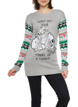 Holiday Sweater with Dont Get Your Tinsel in a Tangle Graphic - 1020015050043