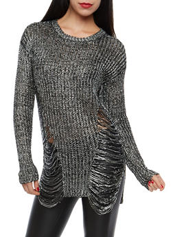 Shimmer Knit Shredded Sweater - 1020015050124