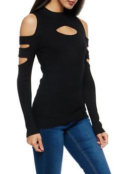 Black Rib Knit Cold Shoulder Sweater - 1020038340400