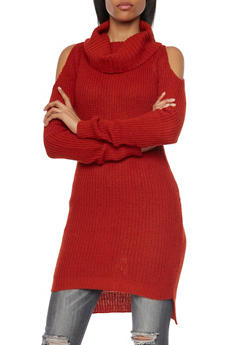 Cold Shoulder Tunic Sweater with Cowl Neck - 1020038346137