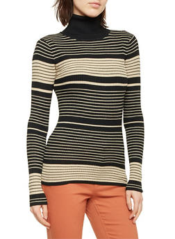 Striped Turtleneck Sweater - 1020038346424