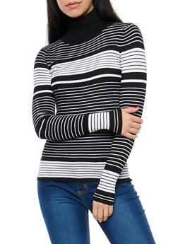 Striped Turtleneck Sweater - 1020038346444