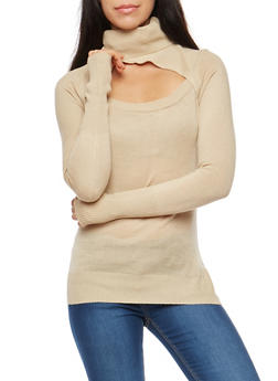 Open Front Turtleneck Sweater - 1020038346446