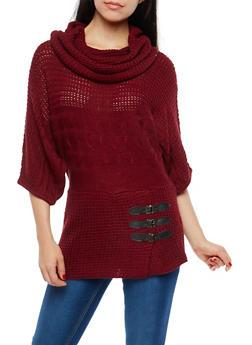 Dolman Sleeve Cowl Neck Tunic Sweater - 1020038347103