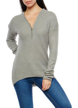 Zip Neck High Low Sweater - 1020038347110