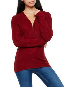 Zip Neck High Low Sweater - 1020038347110