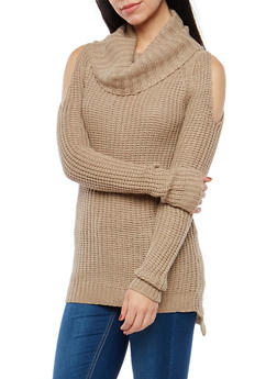 Cold Shoulder Tunic Sweater - 1020038347111