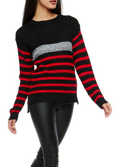 Striped High Low Sweater - 1020038347115