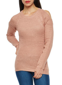 Solid Open Shoulder Sweater - 1020038347118
