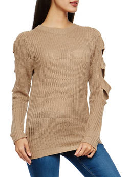 Chunky Knit Slit Sleeve Sweater - 1020038347121