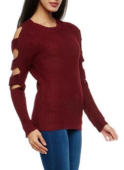Chunky Knit Slit Sleeve Sweater - 1020038347121