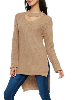Choker Neck High Low Sweater - 1020038347122