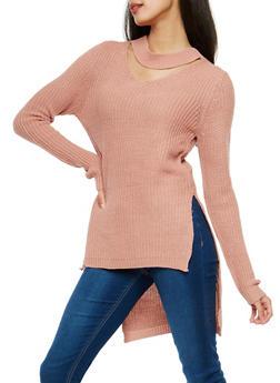 Choker Neck High Low Sweater - 1020038347122