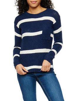 Striped High Low Sweater - 1020038347143