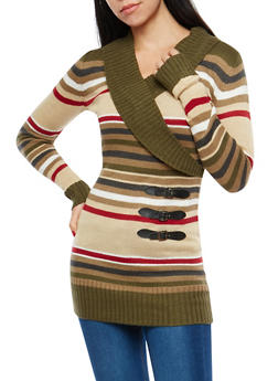 Striped Faux Wrap Front Sweater Dress - 1020038347301