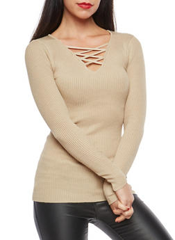Rib Knit Caged Neck Sweater - 1020038347435