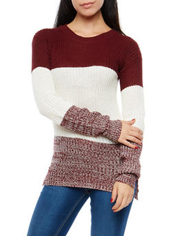 Color Block High Low Sweater - 1020038348116